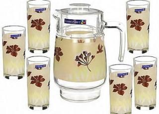 HEVEA BEIGE стаканы + кувшин 7 предметов