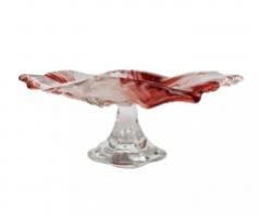 MIRANDA блюдо на ножке 24 см розовое