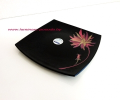 QUADRATO BLACK PALM PINK тарелка обеденная 26 см